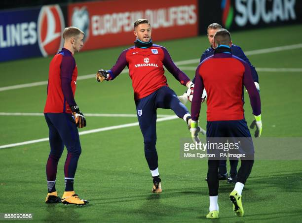 England goalkeepers Joe Hart Jack Butland and Fraser Forster during the training session at the LFF Stadium Vilnius