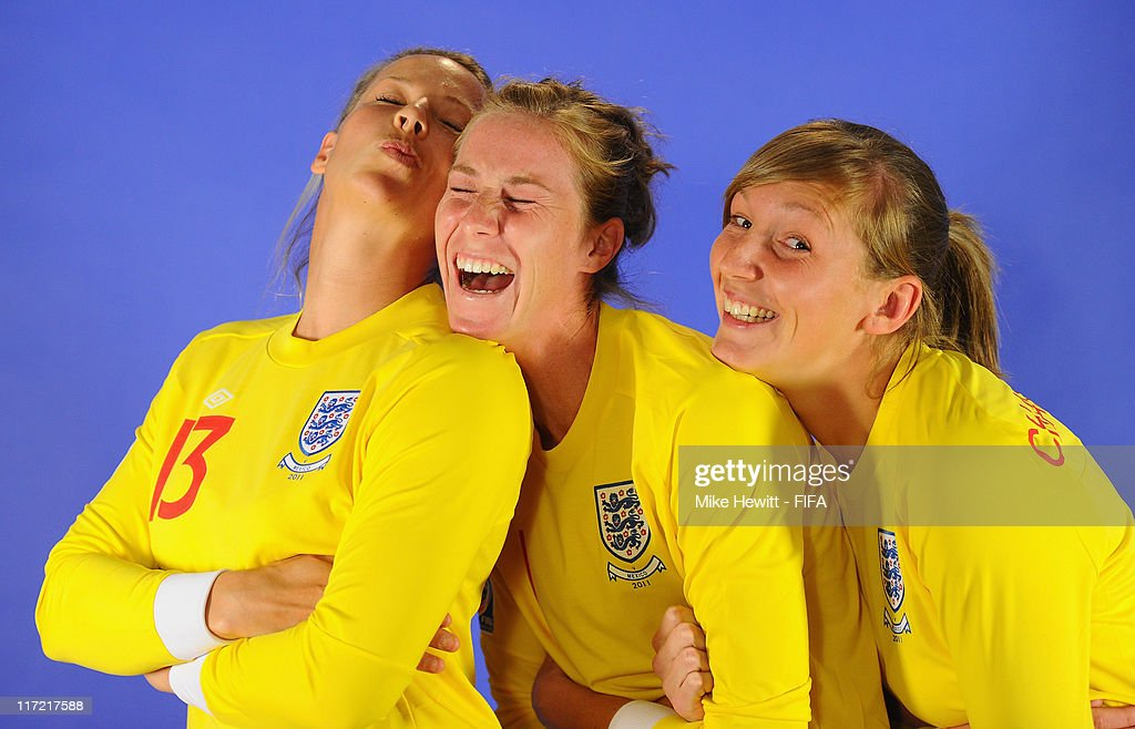 England goalkeepers Rachel Brown Karen Bardsley and Siobhan Chamberlain enjoy themselves during the FIFA portrait session on June 24 2011 in...