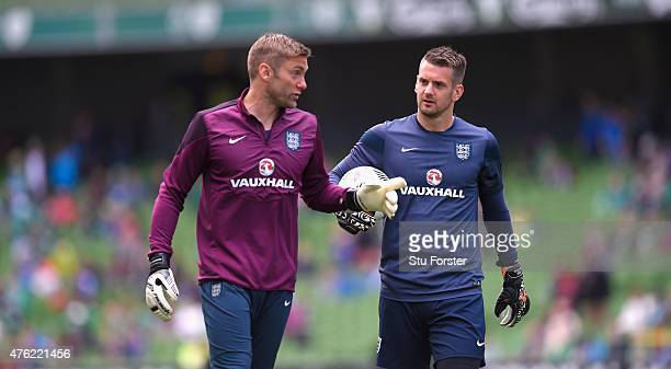 England goalkeepers Robert Green and Tom Heaton chat before the International friendly match between Ireland and England at Aviva Stadium on June 7...