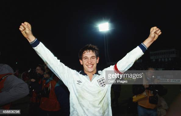 England goalscorer Gary Lineker celebrates qualification for Euro 92' after the European Championships Qualifier between Poland and England on...