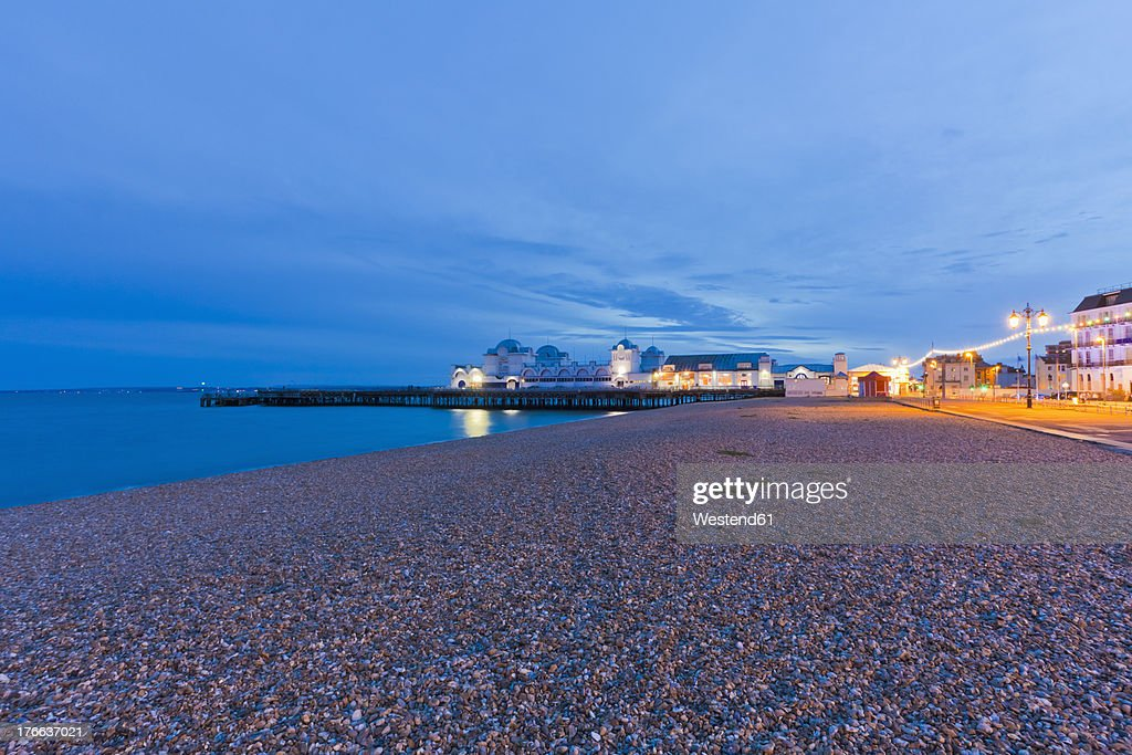 England, Hampshire, Portsmouth, View of beach at South Parade Pier
