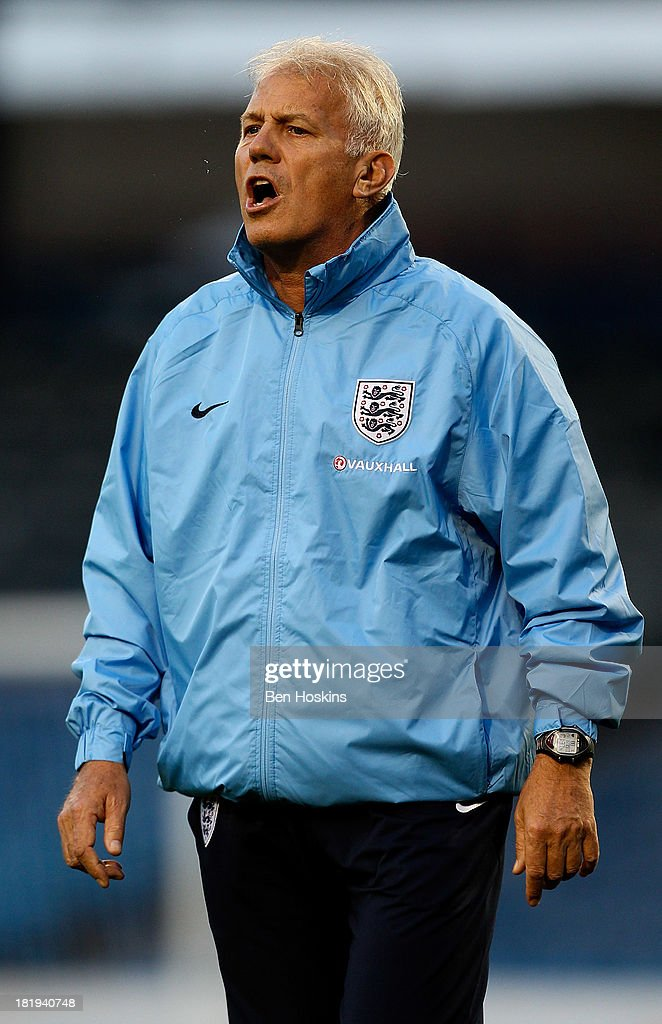 England head coach Brent Hills looks on prior to the FIFA Women's World Cup 2015 Group 6 qualifier between England and Turkey at Fratton Park on September 26, 2013 in Portsmouth, England.