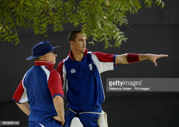England head coach Duncan Fletcher and Kevin Pietersen during a net session at the Sardar Patel Stadium Ahmedabad India