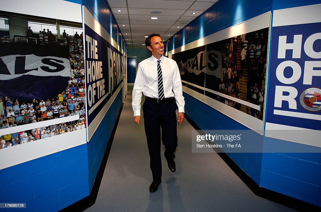 England head coach Gareth Southgate arrives at the ground prior to the 2015 UEFA European U21 Championships Qualifier between England U21 and Moldolva U21 at Madejski Stadium on September 5, 2013 in Reading, England.