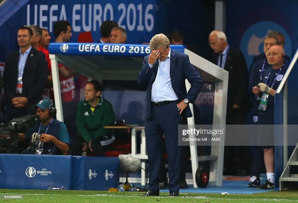 England Head Coach / Manager <a gi-track='captionPersonalityLinkClicked' href=/galleries/search?phrase=Roy+Hodgson&family=editorial&specificpeople=881703 ng-click='$event.stopPropagation()'>Roy Hodgson</a> reacts during the UEFA Euro 2016 Round of 16 match between England and Iceland at Allianz Riviera Stadium on June 27, 2016 in Nice, France.