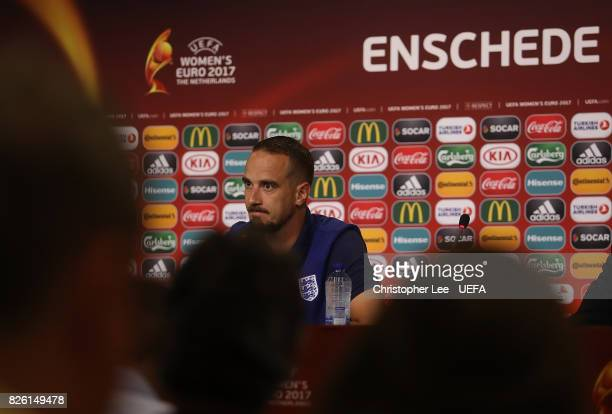 England Head Coach Mark Sampson speaks to the media at a press conference following the UEFA Women's Euro 2017 Semi Final match between Netherlands...