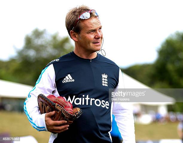 England Head Coach Paul Shaw looks on prior to day one of Women's test match between England and India at Wormsley Cricket Ground on August 13 2014...