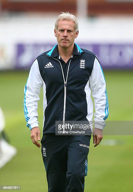 England head coach Pete Moores during the England Sri Lanka Nets Session at Lord's Cricket Ground on May 30 2014 in London England