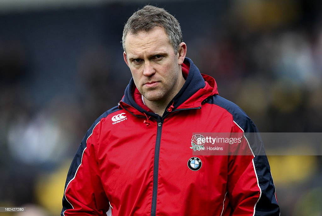 England head coach Rob Hunter looks on prior to the U20s RBS Six Nations match between England U20 and France U20 at the Sixways Stadium on February 23, 2013 in Worcester, England.