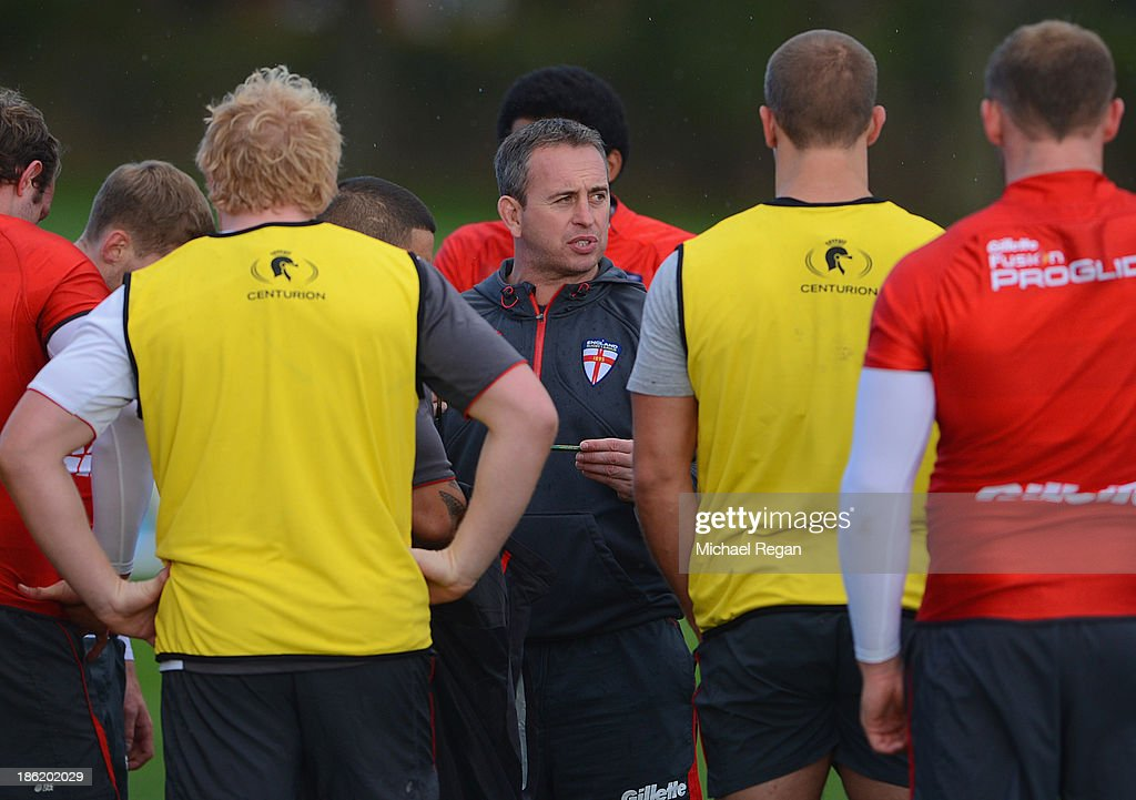 England head coach Steve McNamara speaks to the squad during the England media session for the Rugby League World Cup on October 29, 2013 in Loughborough, England.