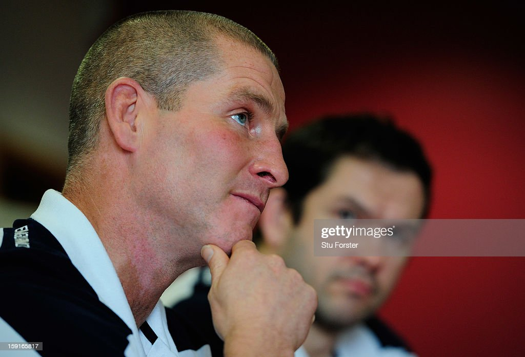 England head coach Stuart Lancaster (l) and assistant coach Andy Farrell faces the press during the England Rugby Union Senior and Saxons Elite Player Squads Announcement at West Park RUFC on January 9, 2013 in Leeds, England.