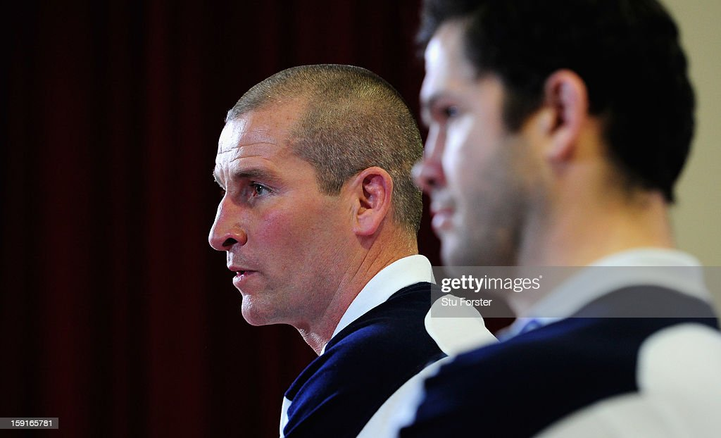England head coach <a gi-track='captionPersonalityLinkClicked' href=/galleries/search?phrase=Stuart+Lancaster&family=editorial&specificpeople=2263180 ng-click='$event.stopPropagation()'>Stuart Lancaster</a> (l) and assistants coach <a gi-track='captionPersonalityLinkClicked' href=/galleries/search?phrase=Andy+Farrell+-+Rugby+Coach&family=editorial&specificpeople=234823 ng-click='$event.stopPropagation()'>Andy Farrell</a> faces the press during the England Rugby Union Senior and Saxons Elite Player Squads Announcement at West Park RUFC on January 9, 2013 in Leeds, England.