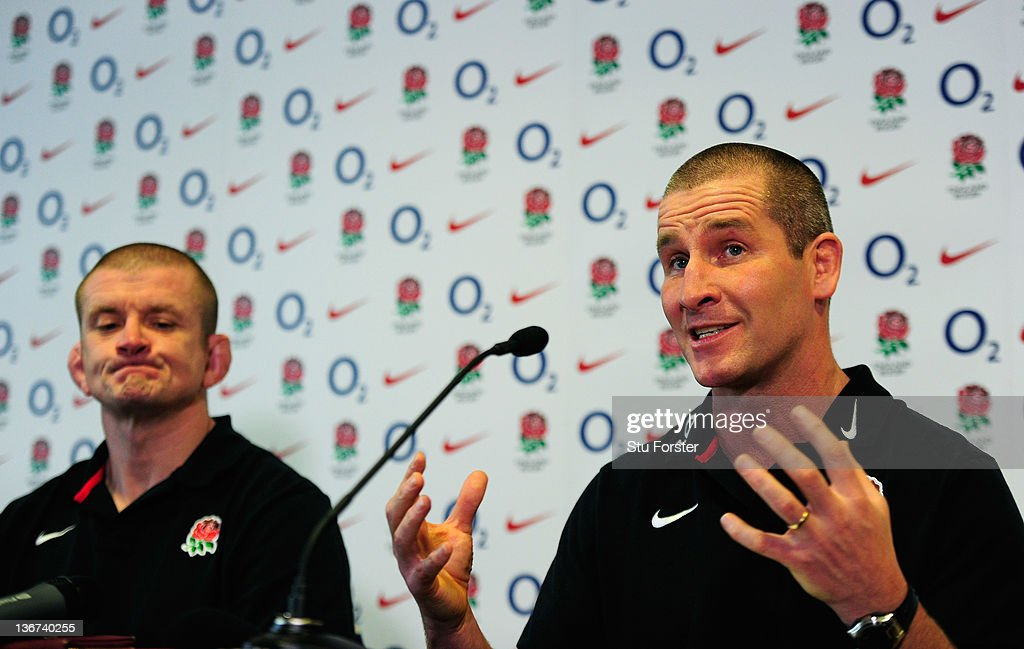 England head coach <a gi-track='captionPersonalityLinkClicked' href=/galleries/search?phrase=Stuart+Lancaster&family=editorial&specificpeople=2263180 ng-click='$event.stopPropagation()'>Stuart Lancaster</a> (r) and forwards coach <a gi-track='captionPersonalityLinkClicked' href=/galleries/search?phrase=Graham+Rowntree&family=editorial&specificpeople=215047 ng-click='$event.stopPropagation()'>Graham Rowntree</a> (l) face the press at the press conference to announce the squads for the England Senior and Saxons Elite Player Squads at West Park Leeds RFC on January 11, 2012 in Leeds, England.