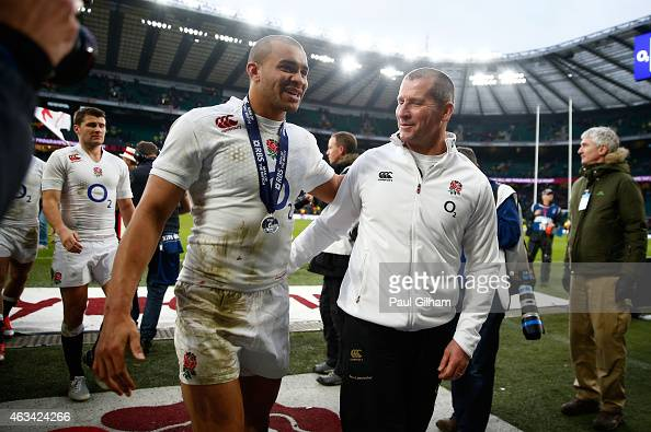 England head coach Stuart Lancaster congratulates Jonathan Joseph of England after the RBS Six Nations match between England and Italy at Twickenham...