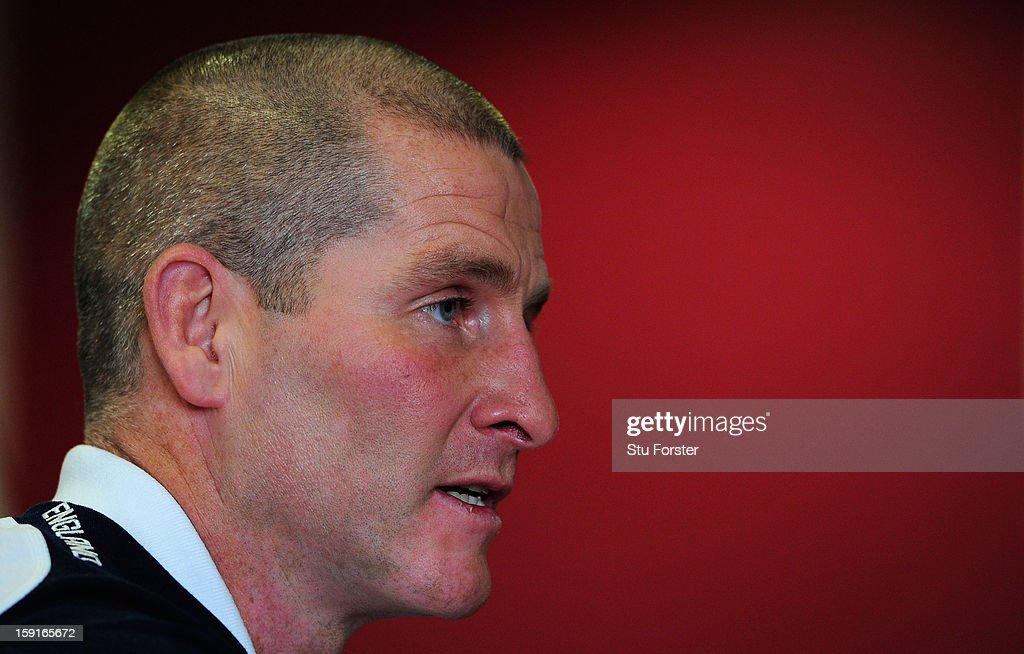 England head coach Stuart Lancaster faces the press during the England Rugby Union Senior and Saxons Elite Player Squads Announcement at West Park RUFC on January 9, 2013 in Leeds, England.