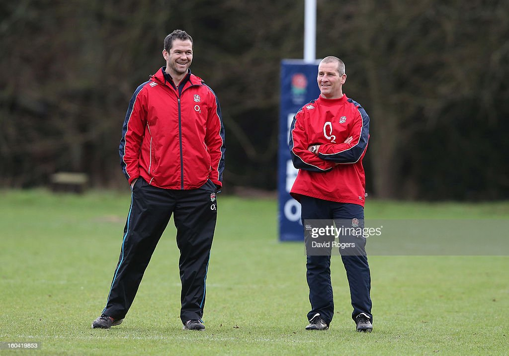 England head coach <a gi-track='captionPersonalityLinkClicked' href=/galleries/search?phrase=Stuart+Lancaster&family=editorial&specificpeople=2263180 ng-click='$event.stopPropagation()'>Stuart Lancaster</a> (R) laughs with backs coach Andy Farrell during an England training session at Pennyhill Park on January 31, 2013 in Bagshot, England.