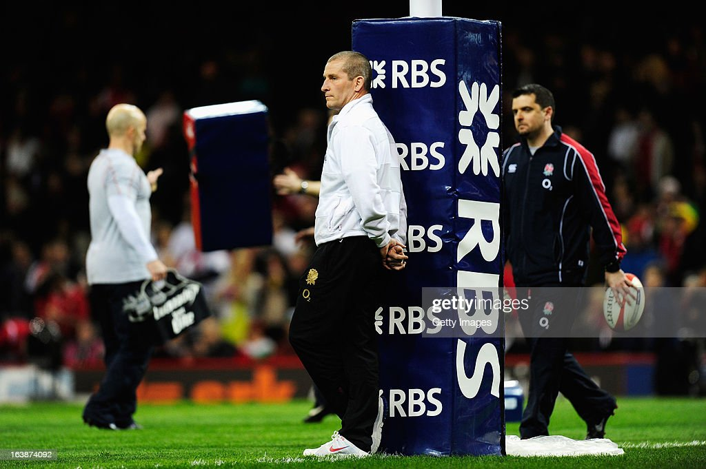 England head coach <a gi-track='captionPersonalityLinkClicked' href=/galleries/search?phrase=Stuart+Lancaster&family=editorial&specificpeople=2263180 ng-click='$event.stopPropagation()'>Stuart Lancaster</a> looks on prior to the RBS Six Nations match between Wales and England at Millennium Stadium on March 16, 2013 in Cardiff, Wales.