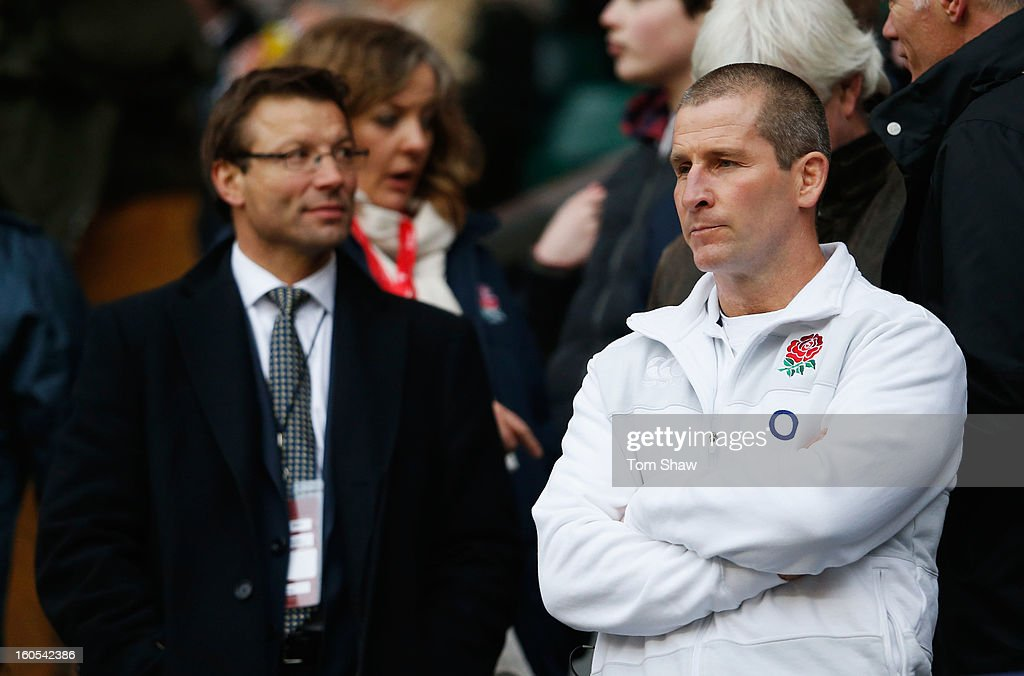 England head coach Stuart Lancaster (R) looks on with Professional Rugby Director Rob Andrew during the RBS Six Nations match between England and Scotland at Twickenham Stadium on February 2, 2013 in London, England.