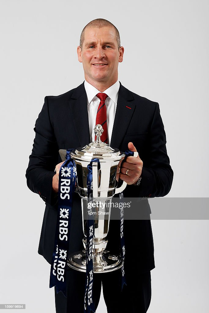England head coach Stuart Lancaster poses with the Six Nations trophy during the RBS Six Nations launch at The Hurlingham Club on January 23, 2013 in London, England.