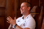 England head Coach Stuart Lancaster speaks with the media during the England press conference at Pennyhill Park on February 2 2012 in Bagshot England