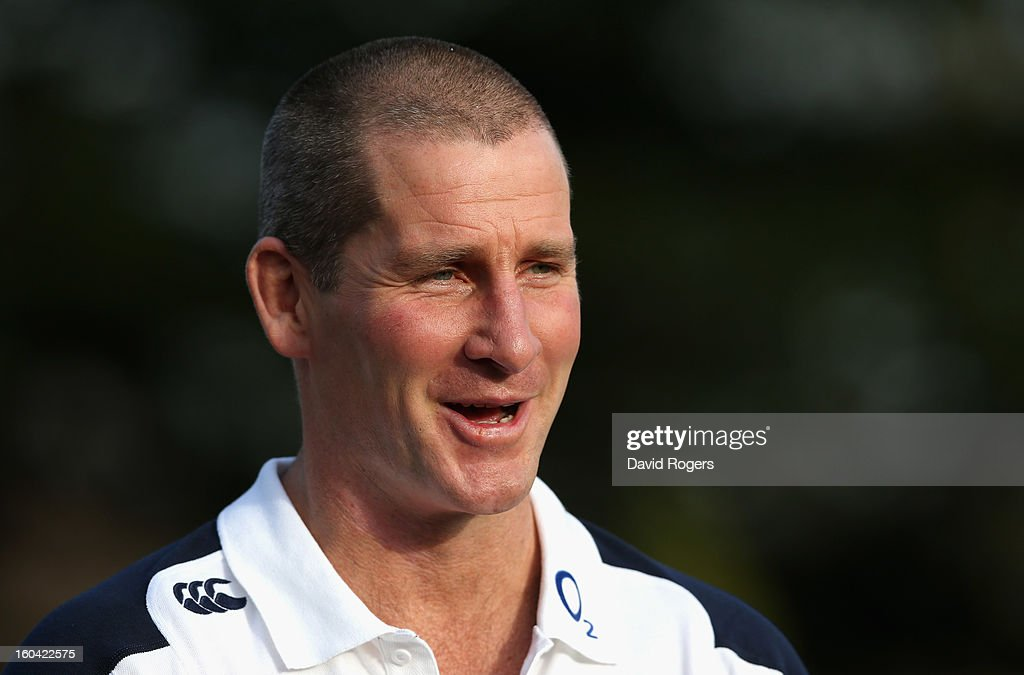 England head coach Stuart Lancaster talks to the media after an England training session at Pennyhill Park on January 31, 2013 in Bagshot, England.