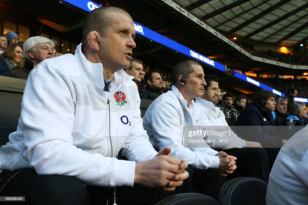England head coach Stuart Lancaster (C) watches with Graham Rowntree (L) and Andy Farrell during the RBS Six Nations match between England and Scotland at Twickenham Stadium on February 2, 2013 in London, England.