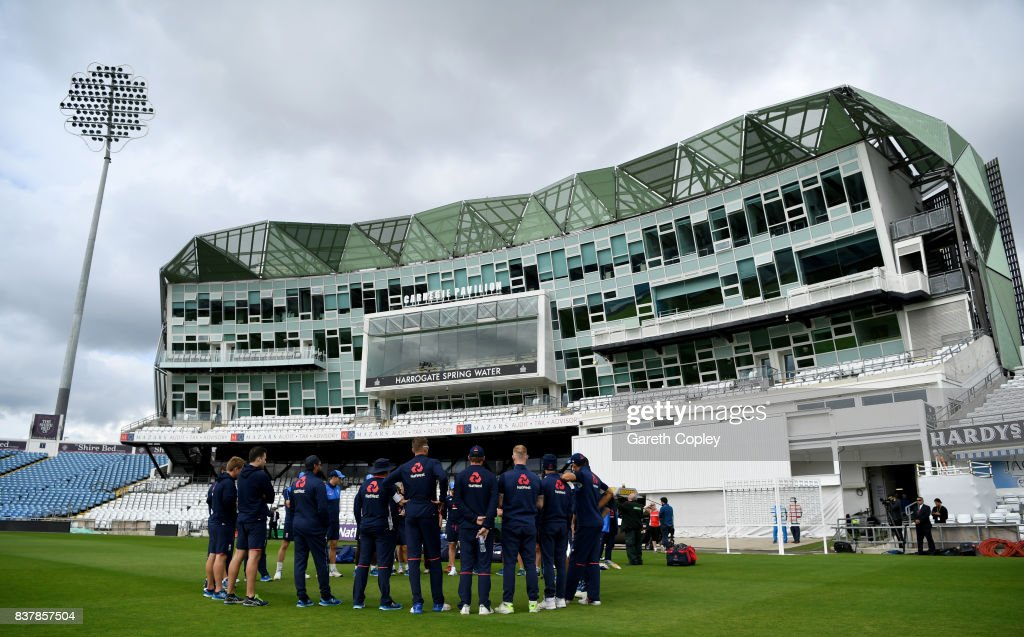 England huddle ahead of a nets session at Headingley on August 23, 2017 in Leeds, England.