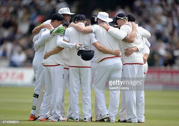 England huddle ahead of fielding during day two of 1st Investec Test match between England and New Zealand at Lord's Cricket Ground on May 22 2015 in...