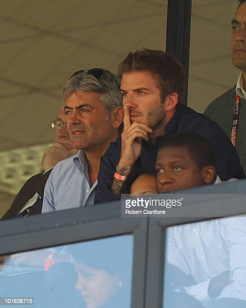 England International David Beckham looks on during the International Friendly between the Australian Socceroos and the USA at Ruimsig Stadium on...