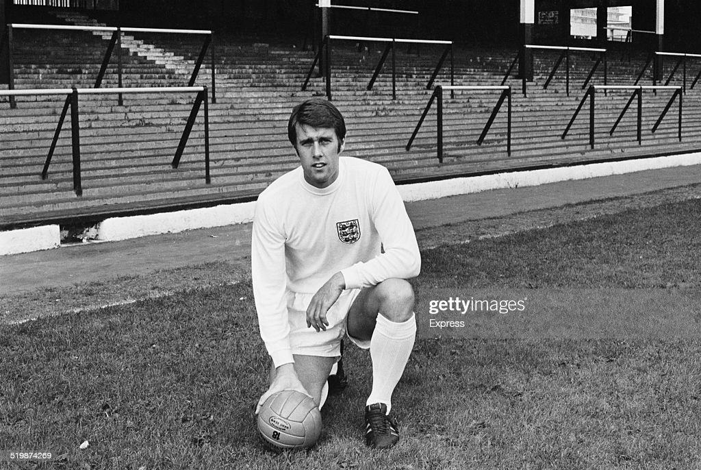 England international footballer, <a gi-track='captionPersonalityLinkClicked' href=/galleries/search?phrase=Geoff+Hurst&family=editorial&specificpeople=206880 ng-click='$event.stopPropagation()'>Geoff Hurst</a>, in the strip the England national football team will wear in the 1970 FIFA World Cup, 1969.