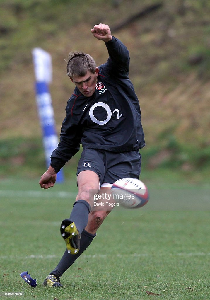 England International Toby Flood takes a penalty kick during the England Rugby Training Session ahead of their test match against Samoa held at the...