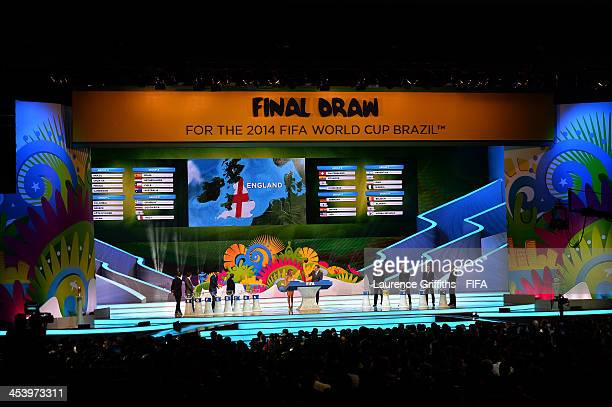 England is drawn from the pot during the Final Draw for the 2014 FIFA World Cup Brazil at Costa do Sauipe Resort on December 6 2013 in Costa do...