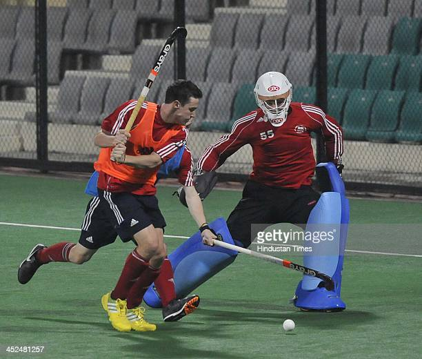 England Junior Hockey team players during a practice session at the National Stadium for the upcoming Junior Men's Hockey World Cup on November 29...