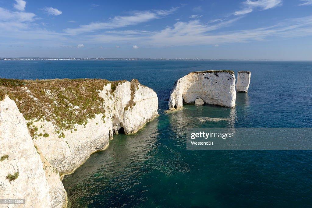 England, Jurassic Coast, Dorset, Isle of Purbeck, Swanage, Old Harry Rocks, Unesco World Heritage Natural Site