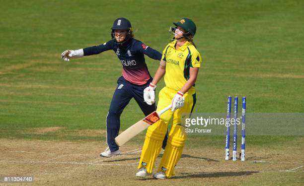 England keeper Sarah Taylor celebrates as Meg Lanning is bowled for 40 runs during the ICC Women's World Cup 2017 match between England and Australia...