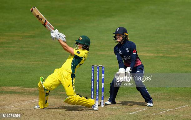 England keeper Sarah Taylor looks on as Australia batsman Nicole Bolton hits out during the ICC Women's World Cup 2017 match between England and...