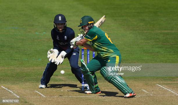 England keeper Sarah Taylor looks on as South Africa batsman Lizelle Lee hits out during the ICC Women's World Cup 2017 match between England and...