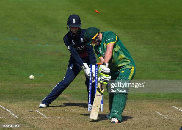 England keeper Sarah Taylor looks on as South Africa batsman Lizelle Lee is bowled by Natalie Sciver during the ICC Women's World Cup 2017 match...