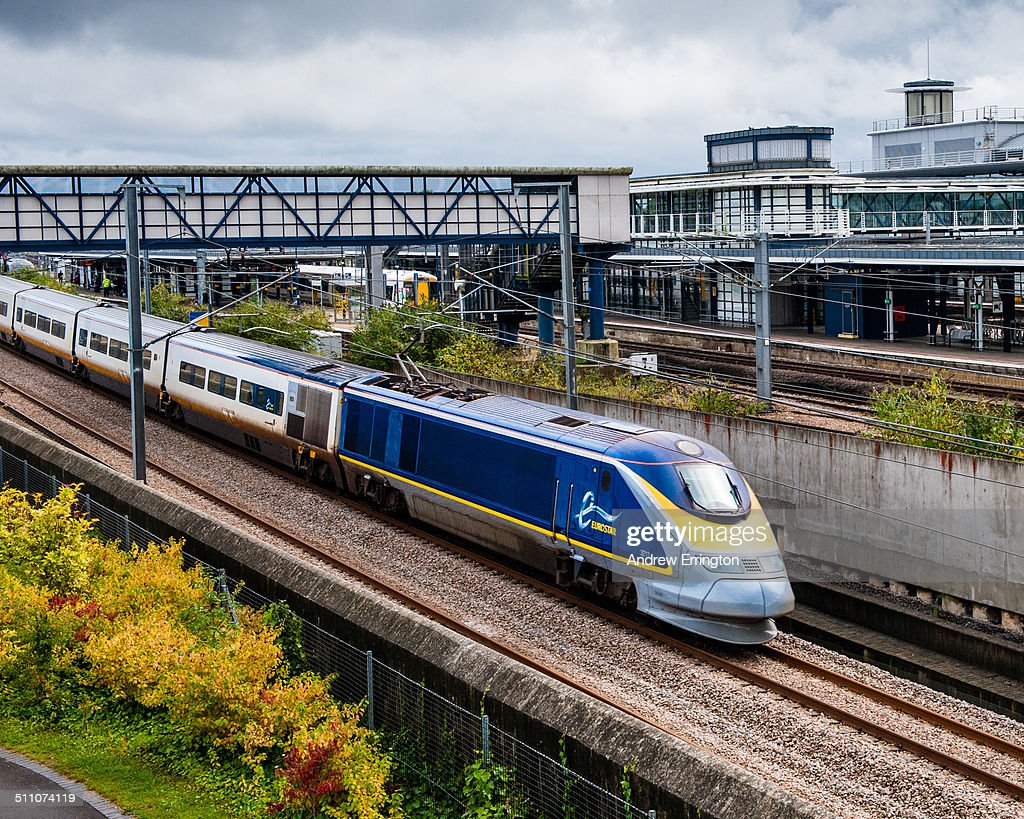 UK England Kent Ashford International Station Eurostar high speed train service which links the UK and London to Europe through the Channel tunnel...