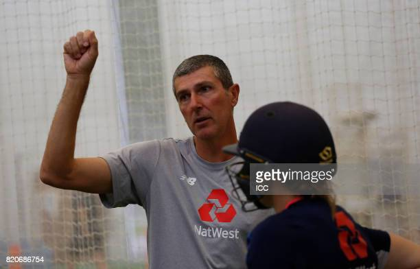 England Ladies Head Coach Mark Robison oversees a training session before The Women's World Cup 2017 final between England and India at Lord's...