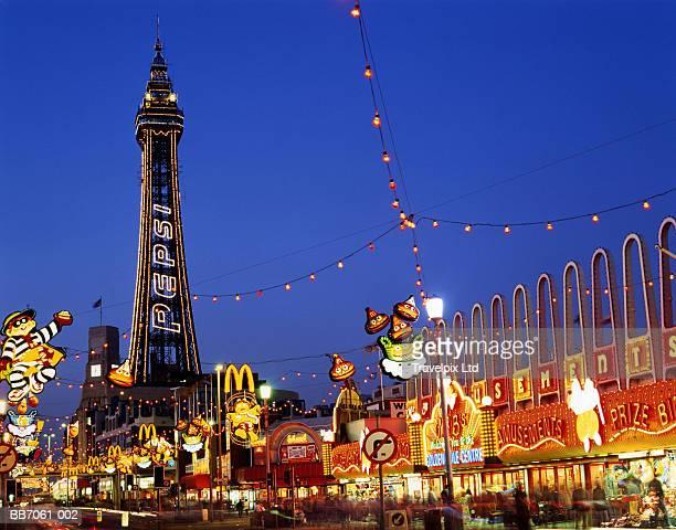 England, Lancashire, Blackpool, Tower and Illuminations at night