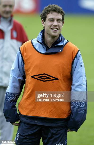England left back Wayne Bridge thought likley to play in place of Ashley Cole during training at The Cliff training ground Manchester prior to...