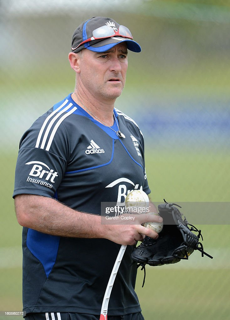 England limited overs batting coach Graham Thorpe during a nets session at Cobham Oval on February 3, 2013 in Whangarei, New Zealand.