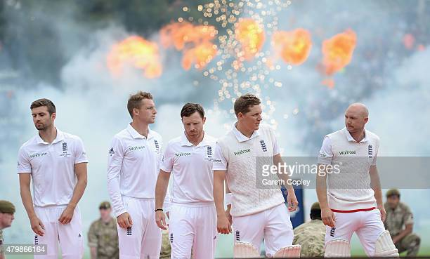 England line up ahead of day one of the 1st Investec Ashes Test match between England and Australia at SWALEC Stadium on July 8 2015 in Cardiff...