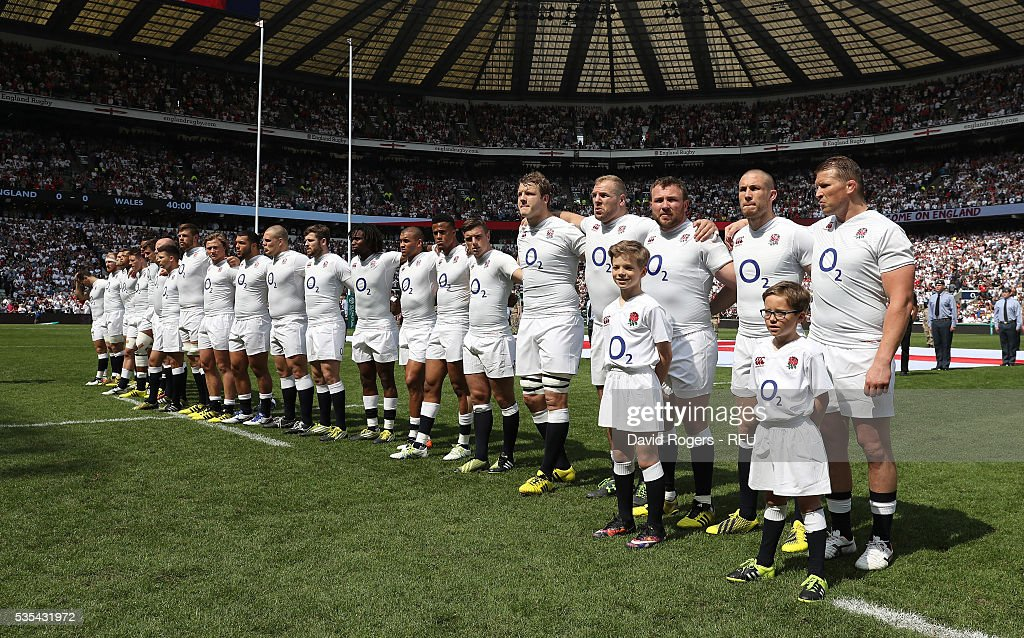 England line up during the anthems during the England v Wales International match at Twickenham Stadium on May 29, 2016 in London, England.