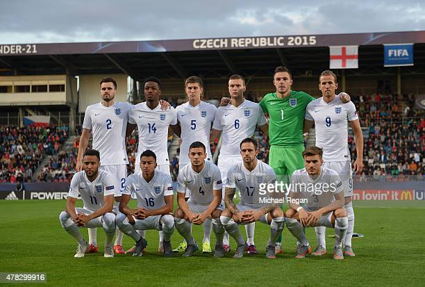 England line up during the UEFA Under21 European Championship match between England and Italy at Andruv Stadium on June 24 2015 in Olomouc Czech...