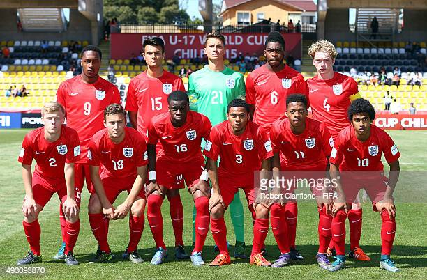 England line up for the FIFA U17 World Cup Group B match between England and Guinea at Estadio Francisco Sanchez Rumoroso on October 17 2015 in...