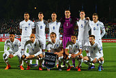 England line up prior to the UEFA EURO 2016 qualifying Group E match between Lithuania and England at LFF Stadionas on October 12 2015 in Kaunas...