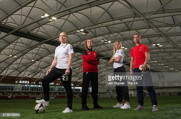 England Lionesses Laura Bassett Siobhan Chamberlain Carly Telford and Jordan Nobbs pose for a photograph during the WSL Season Launch at St George's...