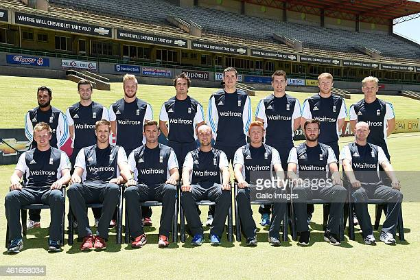 England Lions pose for a team photo during training and team photocall session at Chevrolet Park on January 17 2015 in Bloemfontein South Africa